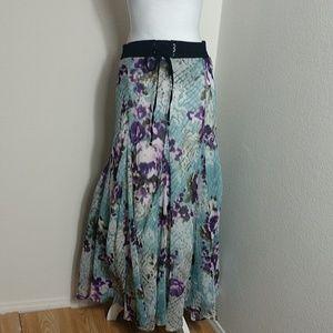 Lapis Tie Front Maxi Boho Patterned Skirt Large